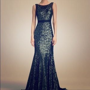 Badgley Mischka Emerald Green Sequin Evening Gown